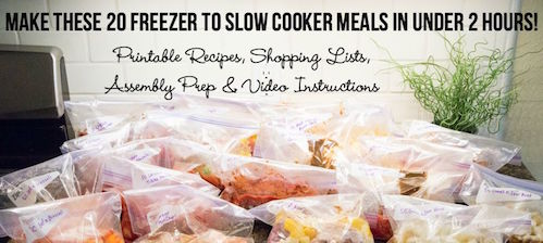 20 Freezer to Slow Cooker Meals in Under 2 Hours!