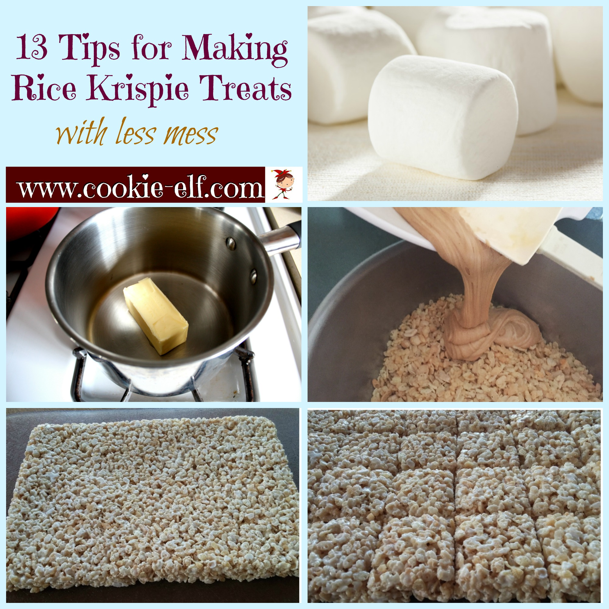 13 baking tips for making Rice Krispie Treats from The Cookie Elf