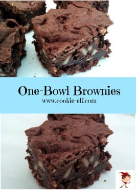 One Bowl Brownies collage from The Cookie Elf