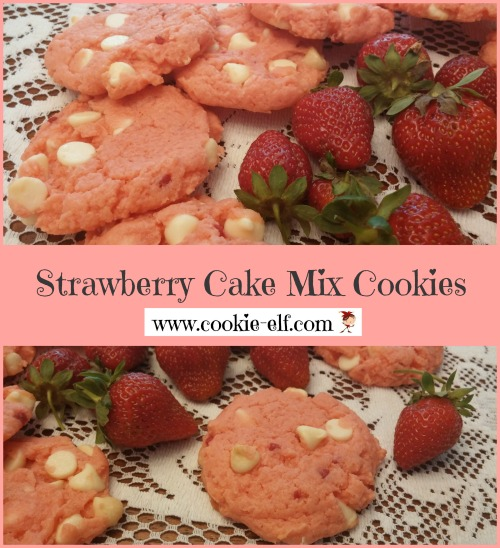 Strawberry Cake Mix Cookies: strawberries and cream in miniature from The Cookie Elf