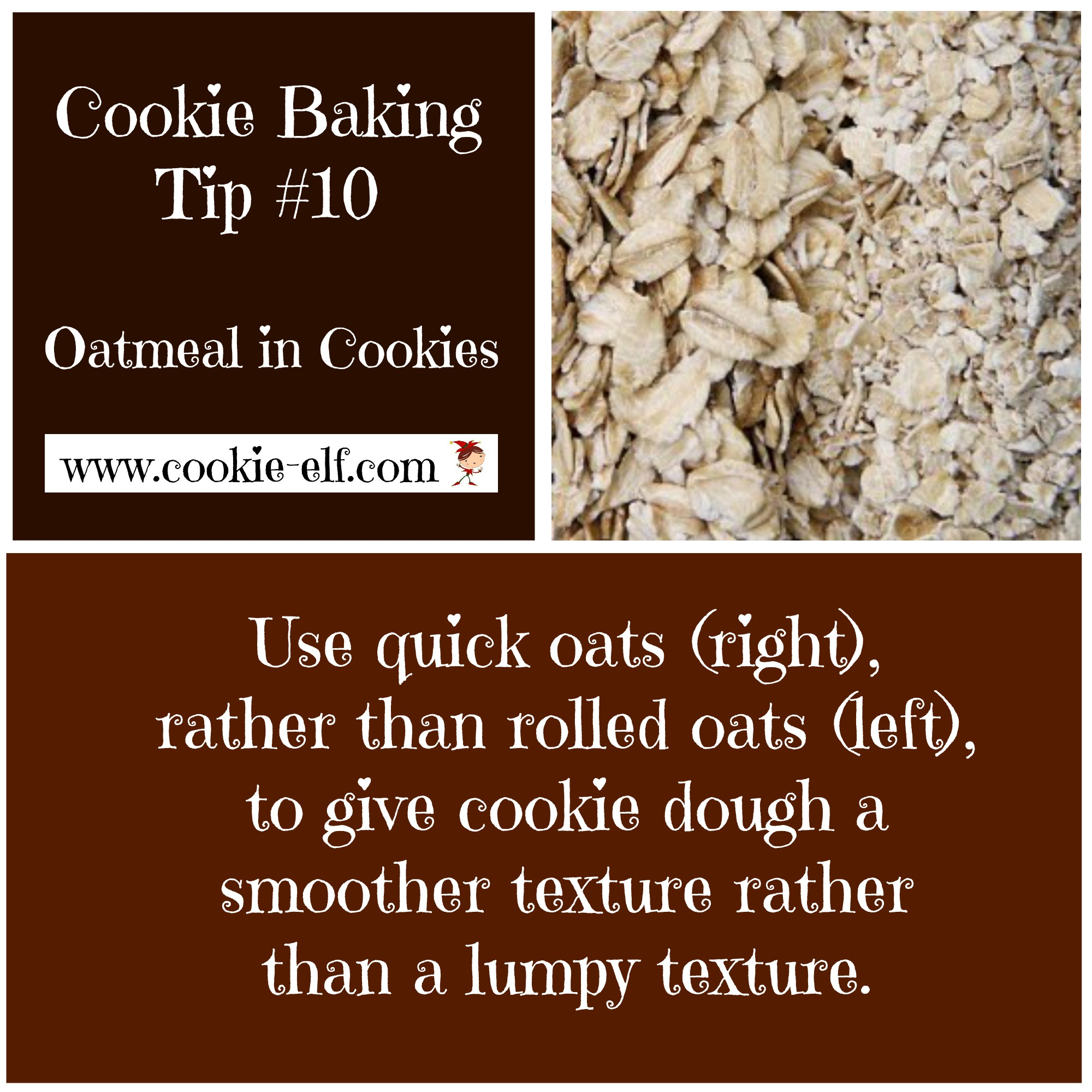 Cookie Baking Tip: oatmeal in cookie dough with The Cookie Elf