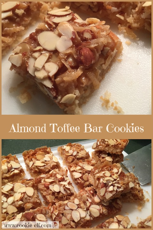 Almond Toffee Bar Cookies with The Cookie Elf