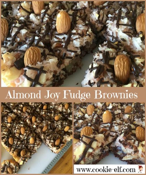 Almond Joy Fudge Brownies recipe from The Cookie Elf