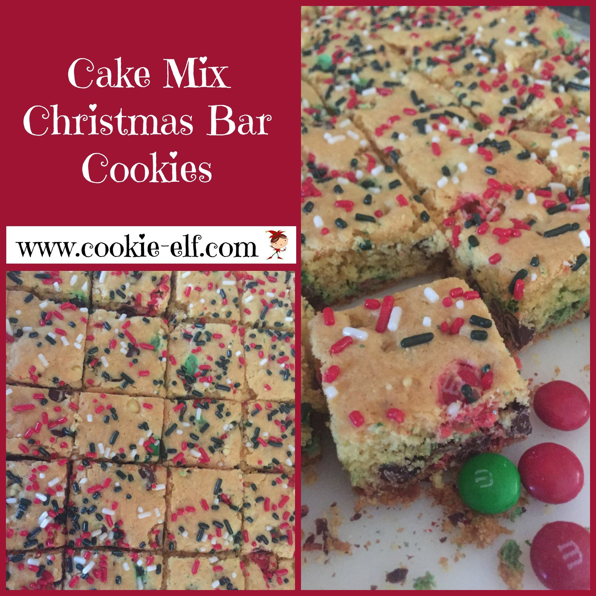 Cake Mix Christmas Bar Cookies with The Cookie Elf