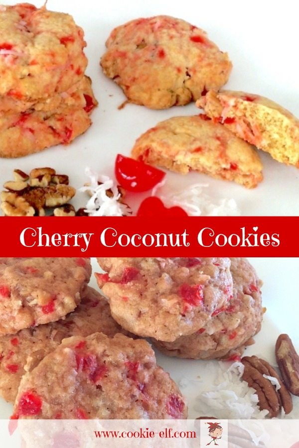 Cherry Coconut Cookies: colorful and easy drop cookie recipe with maraschino cherries, coconut, and pecans with The Cookie Elf.
