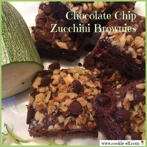 Chocolate Chip Zucchini Brownies with The Cookie Elf