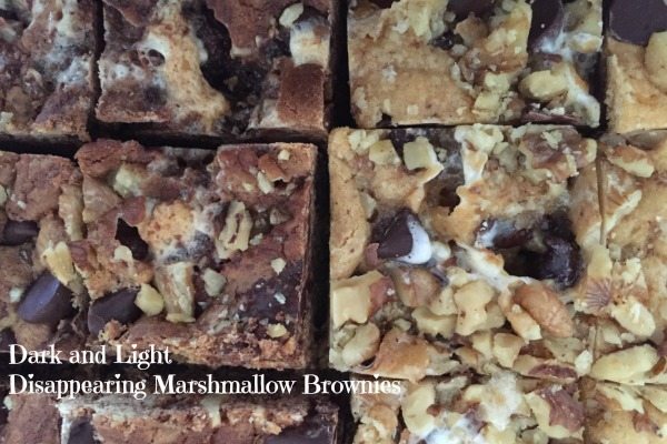 Dark and Light Disappearing Marshmallow Brownies from The Cookie Elf