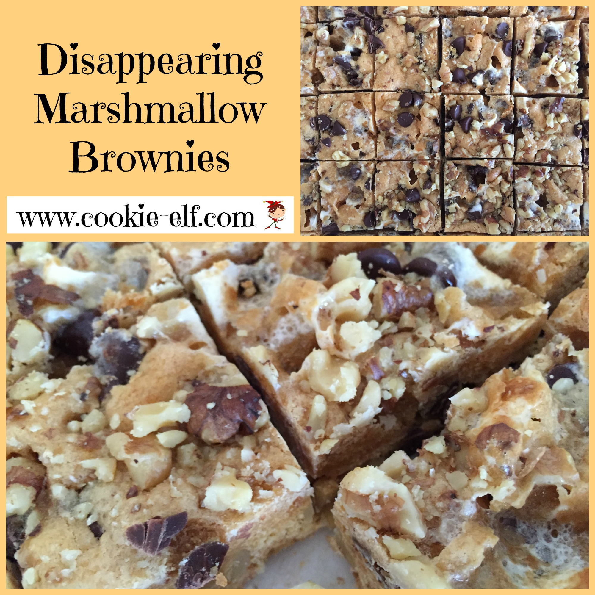Disappearing Marshmallow Brownies from The Cookie Elf