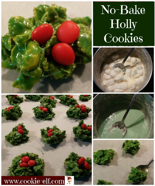 No-Bake Holly Cookies from The Cookie Elf