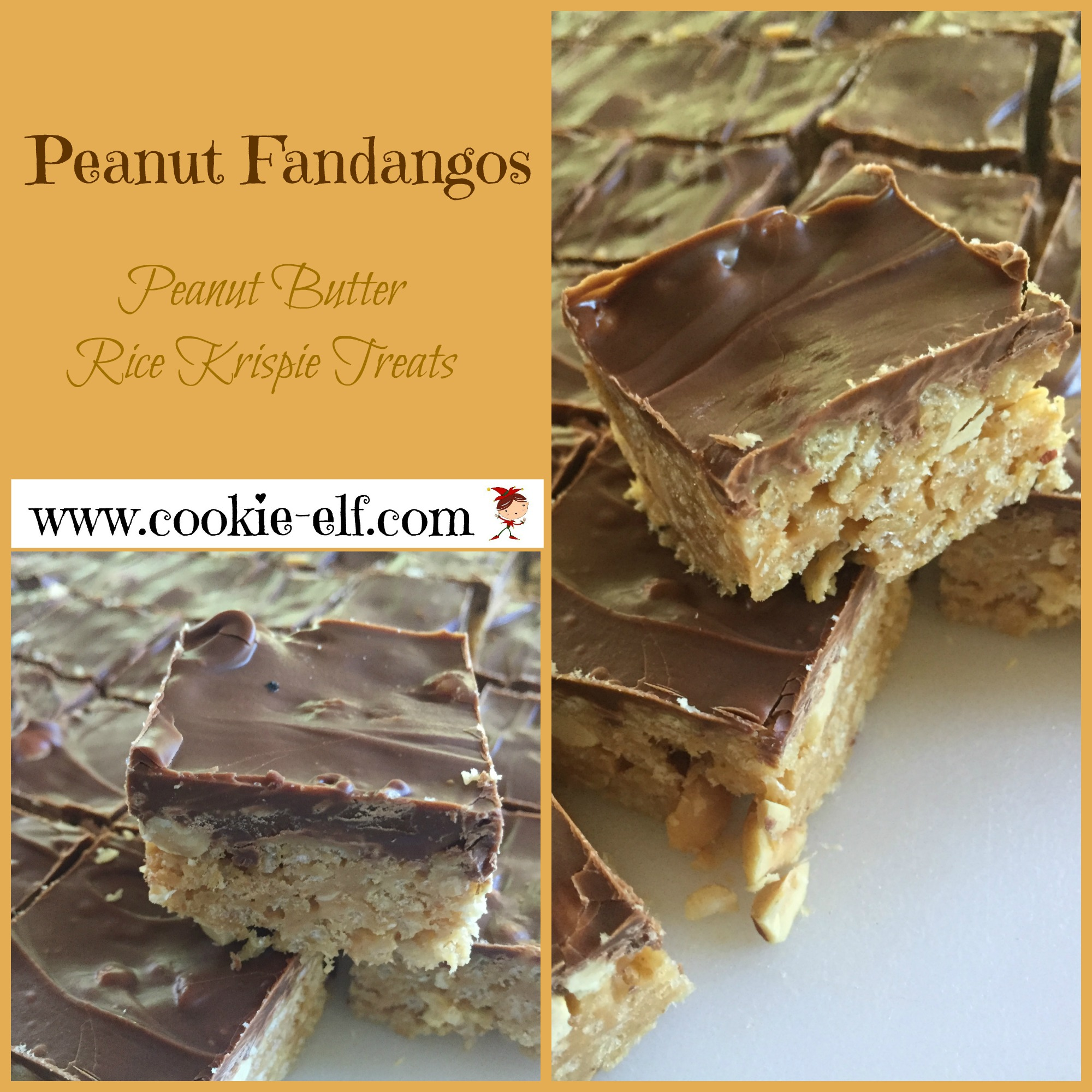 Peanut Fandangos - a Peanut Butter Rice Krispies Treat Variation from The Cookie Elf