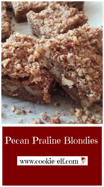 Pecan Praline Blondies with The Cookie Elf. Easy #bakingtips, #easybrowniesrecipes, #easybarcookies