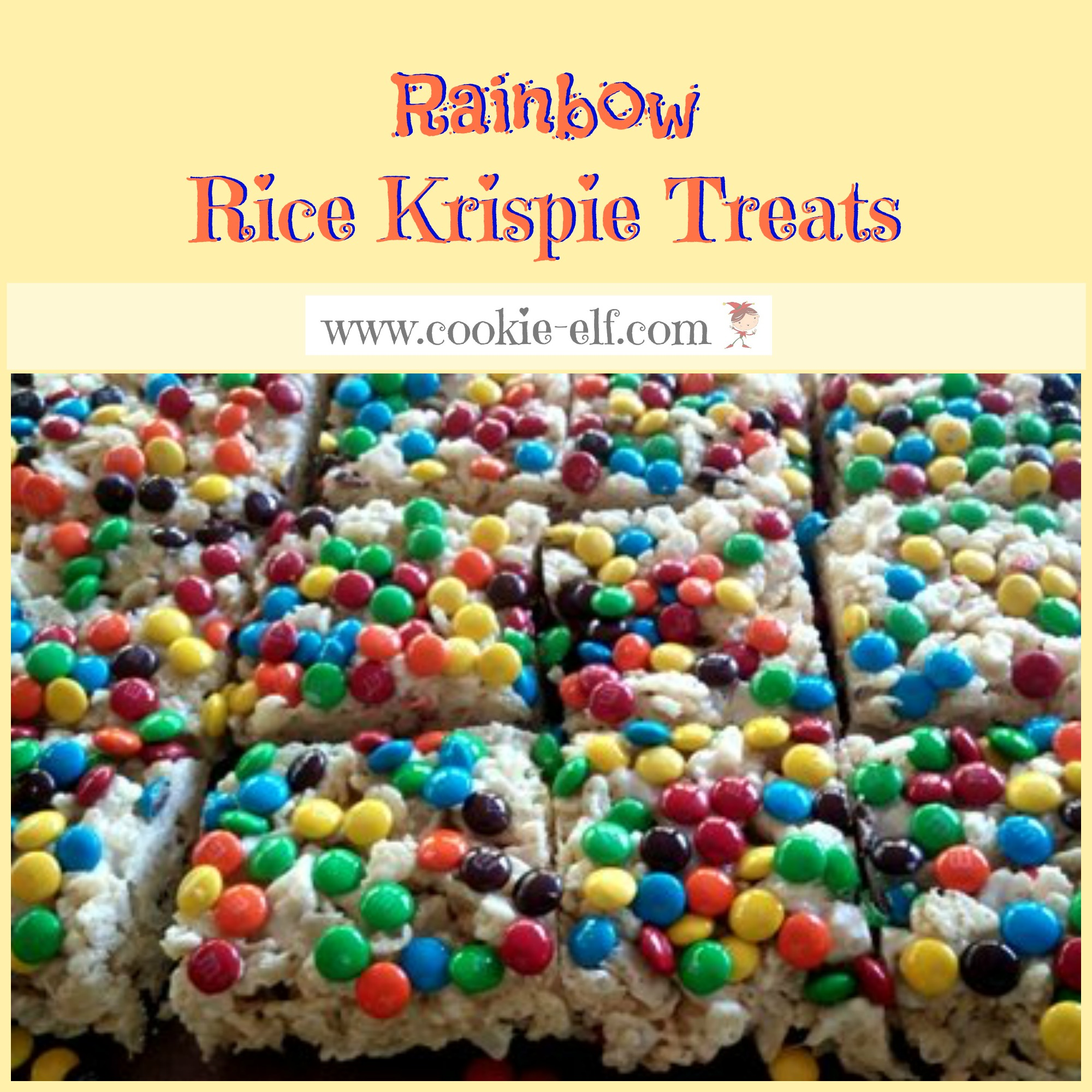 Rainbow Rice Krispie Treats: a RKT variation and super-easy no-bake cookie recipe with The Cookie Elf