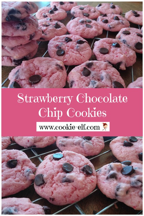 Strawberry Chocolate Chip Cookies: easy cake mix cookie recipe