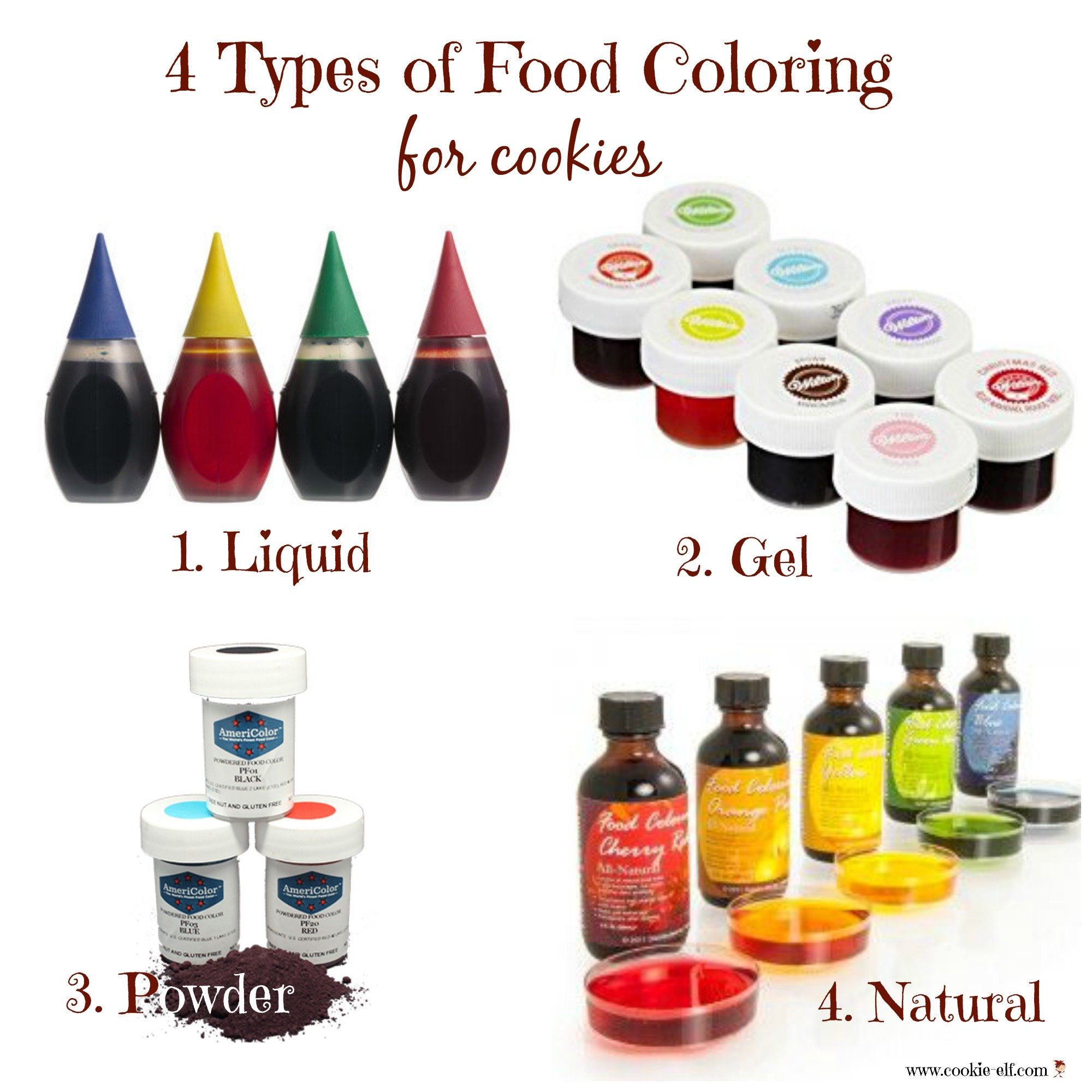 4 types of food coloring for cookies with The Cookie Elf