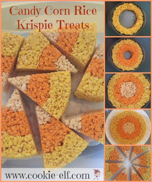 Candy Corn Halloween Rice Krispie Treat recipe with The Cookie Elf
