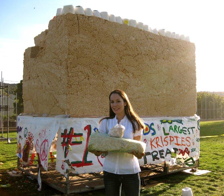Jessica Hamlin with world record Rice Krispie Treats courtesy Hometown Pasadena via The Cookie Elf