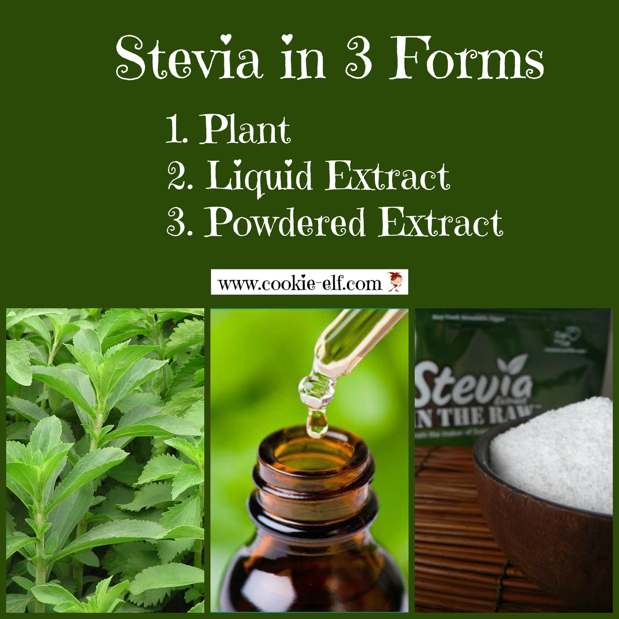 Stevia in 3 forms from The Cookie Elf
